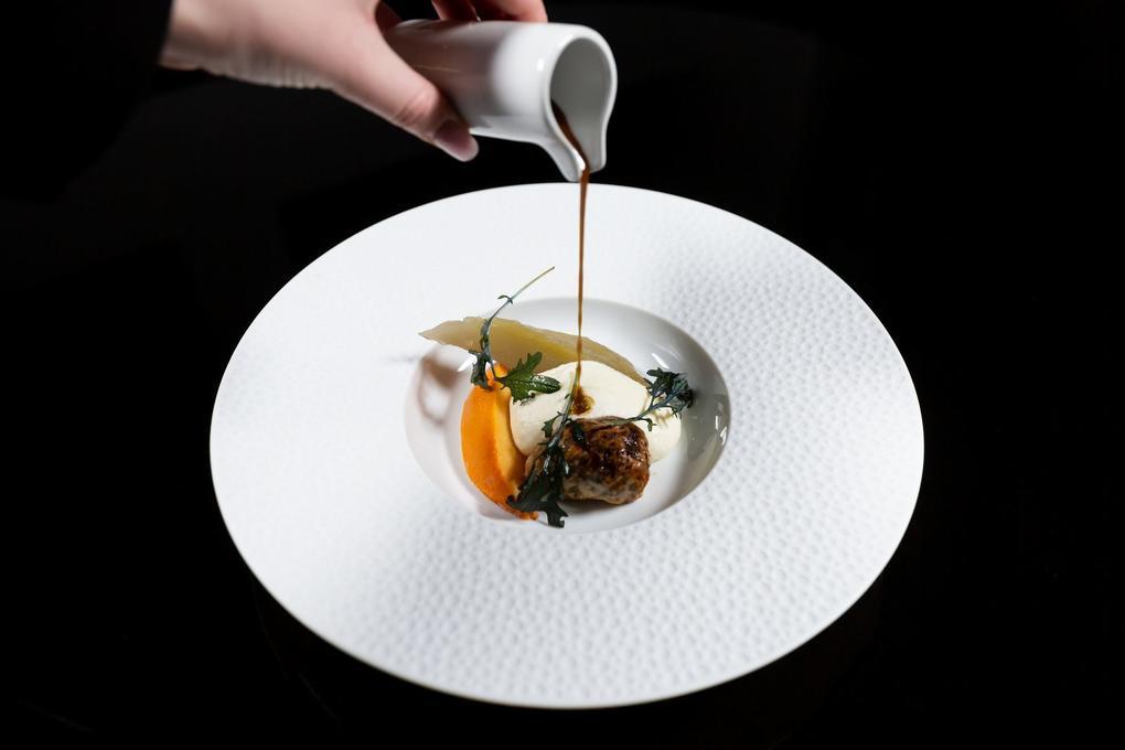Caillette de volaille - espuma - huile de truffe - kaki - confit - restaurant l'Eskell - Diana hôtel et SPA Nuxe - Carnac - Morbihan Bretagne Sud