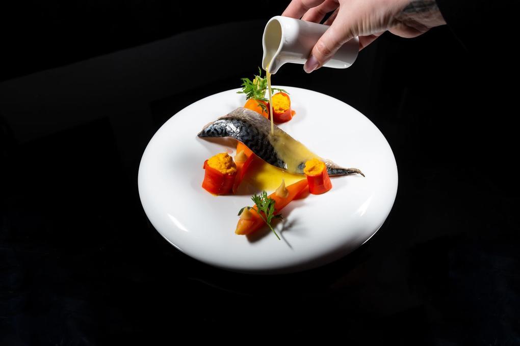 Maquereau rôti carotte gingembre - pâte citron corse - Restaurant l'Eskell Diana hôtel et SPA Nuxe - Carnac - Morbihan Bretagne Sud
